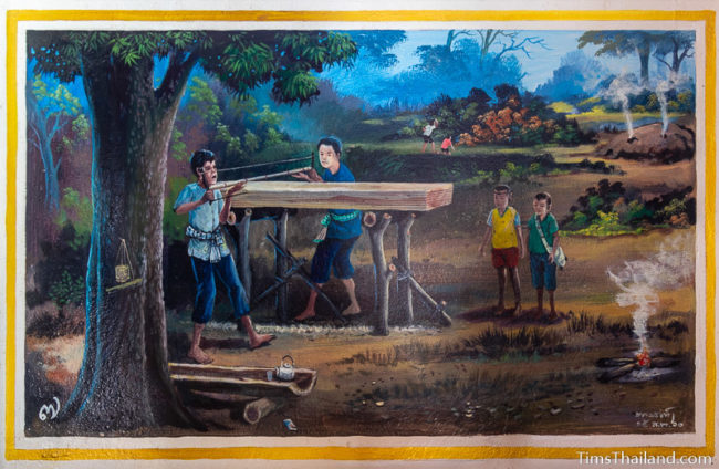 painting of people sawing wood
