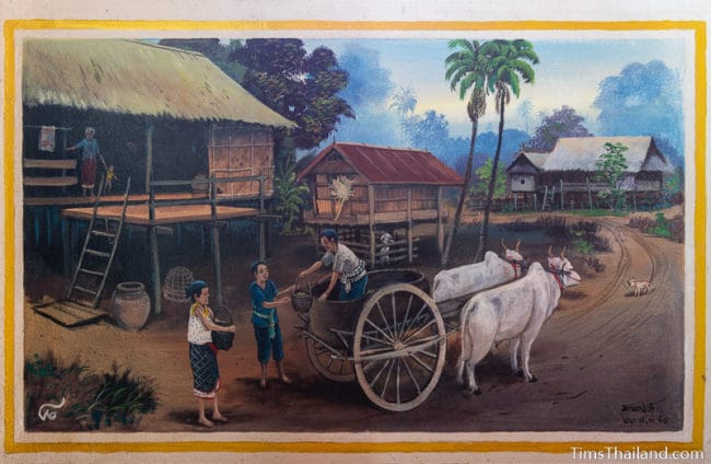 painting of an ox cart in a village