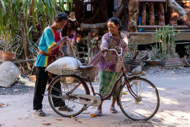 woman bringing sack of rice to temple on a bicycle