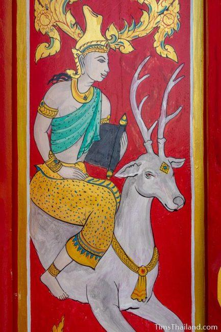 painting of the god Brihaspati riding a deer
