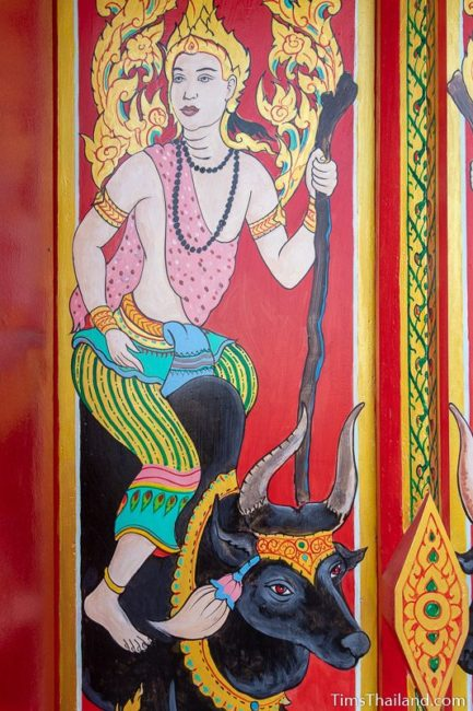 painting of the god Shukra riding a bull