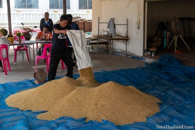 man pouring rice from a bag onto the big pile