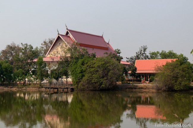 temple sala seen from far side of a pond