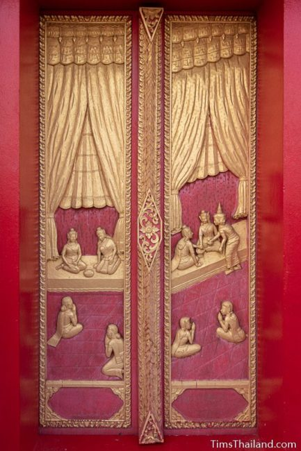 woodcarving of Buddha's marriage