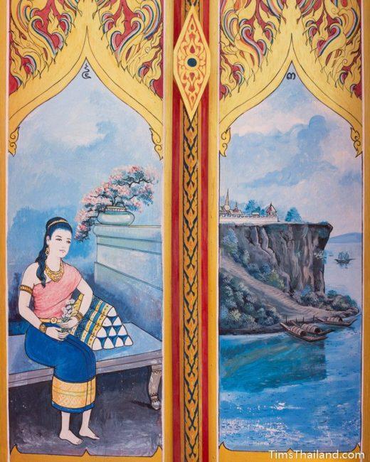 painting on Sin Sai story on doors