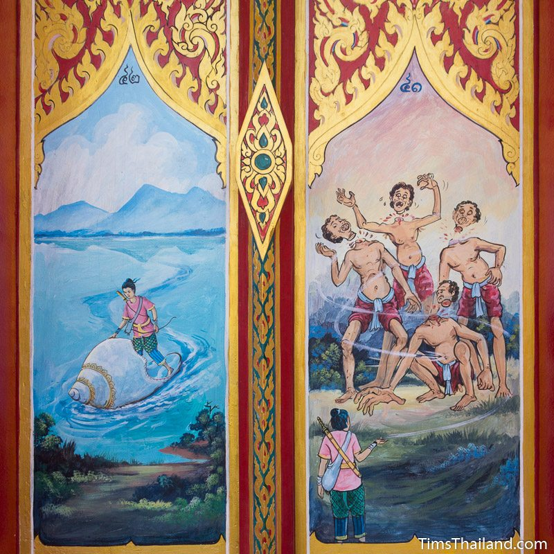 painting of Sin Sai story on window shutters