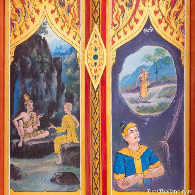 painting on Sin Sai story on window shutters