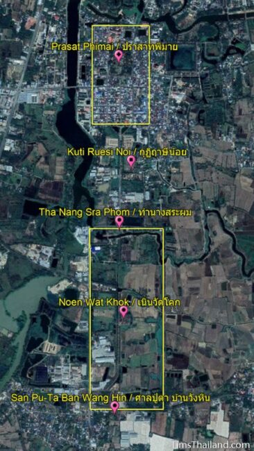 map showing location of Phimai town and Phimai Baray