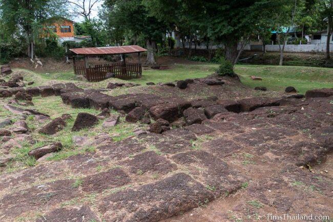 laterite blocks at the middle of the gate