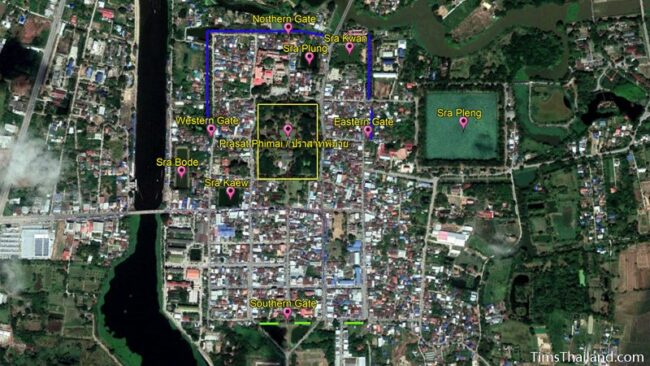 aerial view of the layout of Phimai's ancient walls, moats, and barays