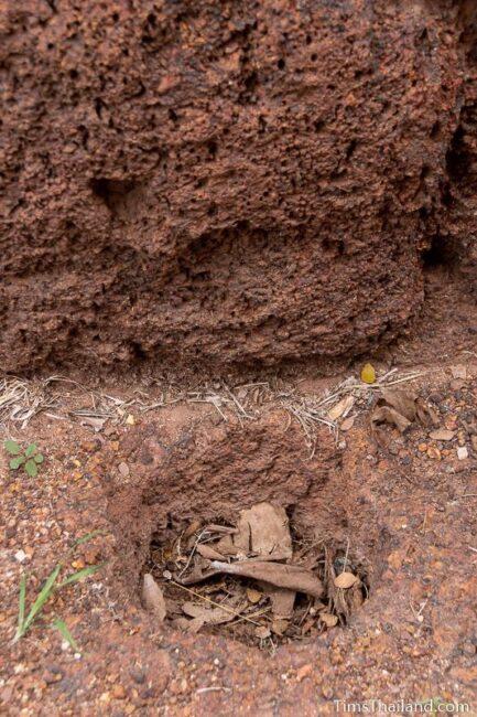 post hole in laterite block