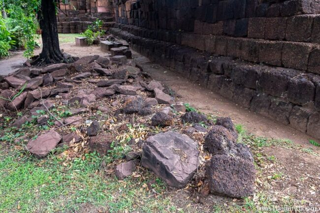laterite and sandstone blocks next to western gate