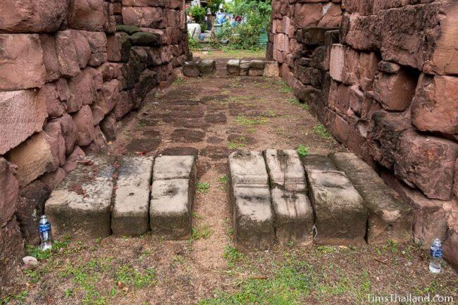 pillars used as door sills on western gate