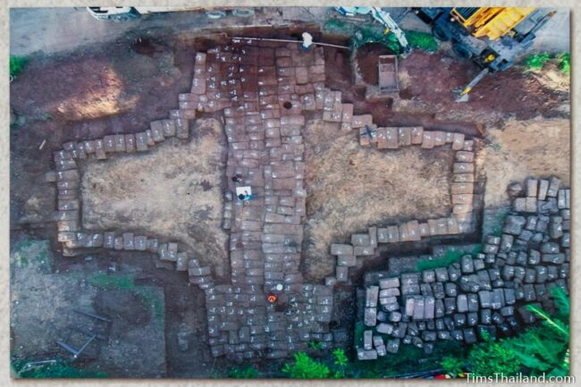 aerial view of restoration work being done on western gate that shows its cross-shaped layout