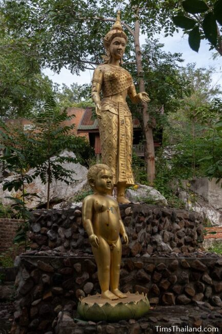 Statues of baby Buddha and his mother