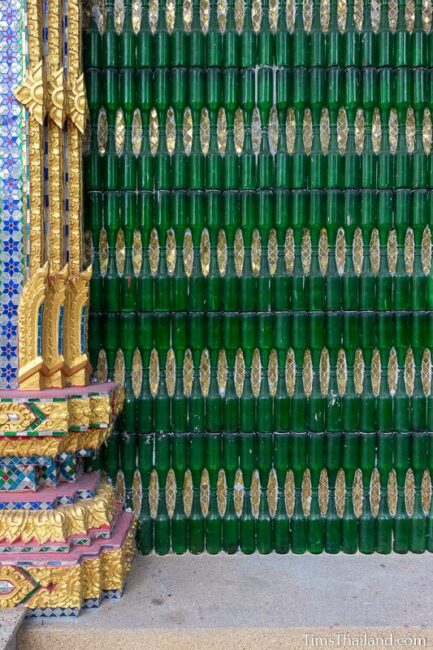 wall covered in bottles