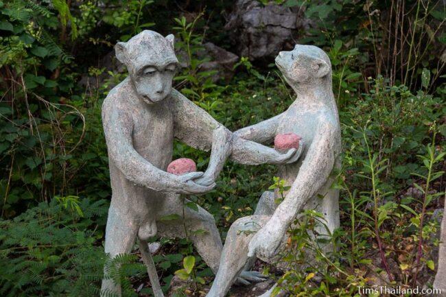 two monkey statues