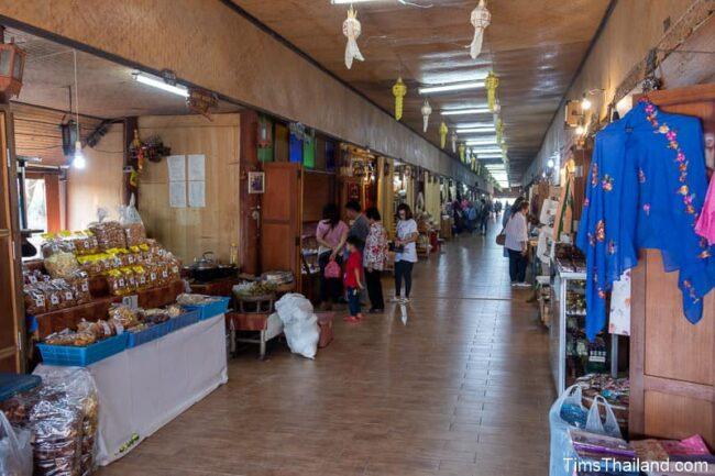 market stalls inside covered bridge