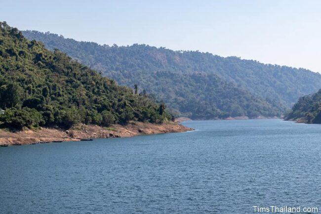 mountain-lined lake