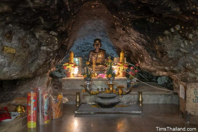 statue of the monk Ajahn Man in a cave