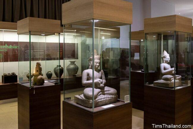 Khmer sculptures in display cases