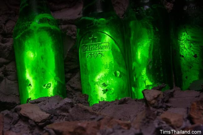 closeup of bottles in roof