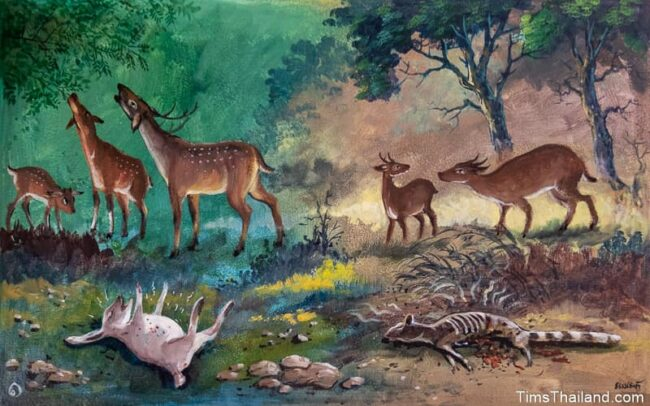 sick and dying animals in a forest
