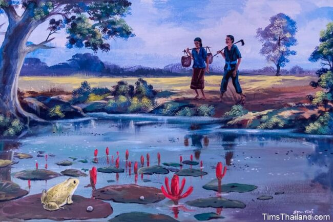 farmers walking past a pond