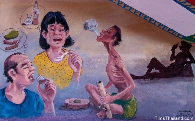 people eating food and smoking a bong