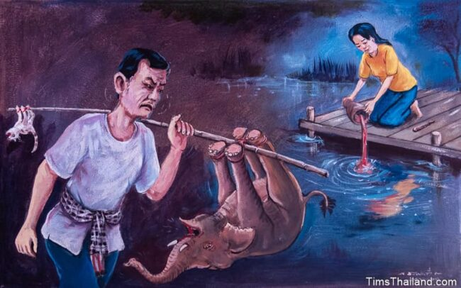 man carrying cat and elephant on a pole and woman dumping food into water