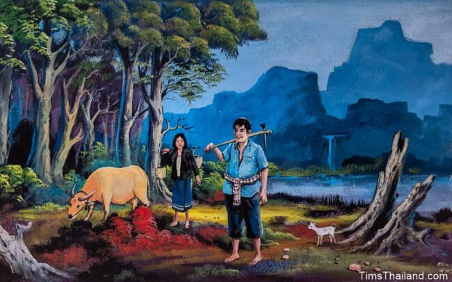 farmers and a buffalo