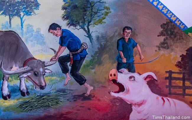 a farmer with a buffalo and a pig